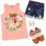 Floral Bunny Wreath Graphic Tee