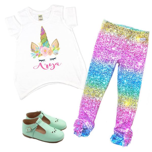 Glitter Rainbow Unicorn Graphic Tee