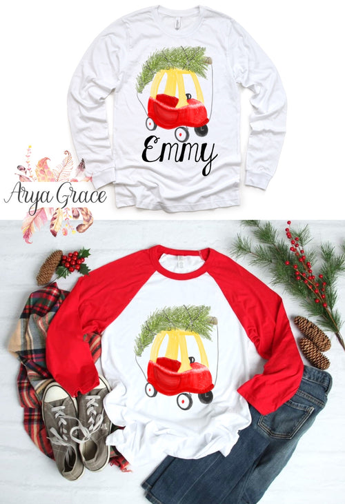Toy Car with Christmas Tree Graphic Tee