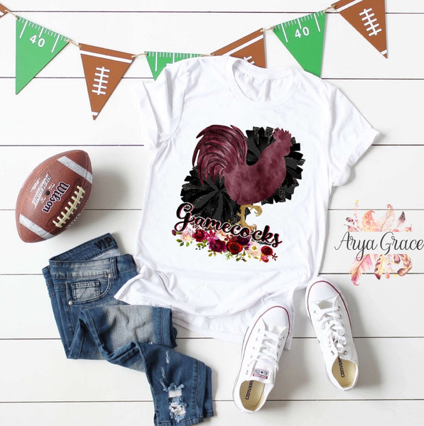 Rooster Floral Gamecocks Graphic Tee {Adult Sizing}
