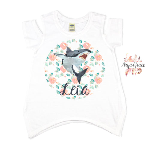 Shark with Floral Circle Graphic Tee {Infant/Toddler/Youth}