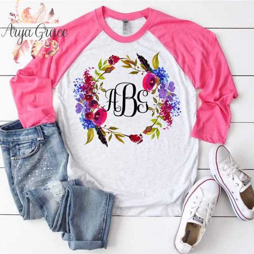 Boho Chic Floral Wreath Graphic Tee {Unisex Adult Sizing}