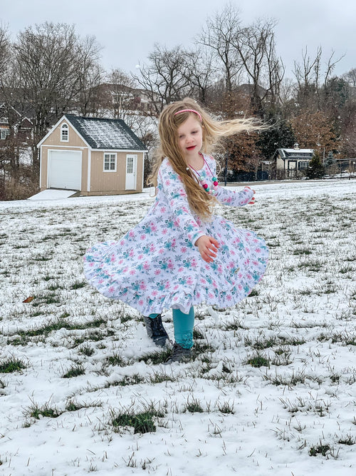 Winter Wonderland Long Sleeve Twirl Dress