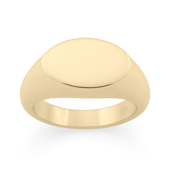 Ellipse Signet Ring. 9k Yellow Gold - MONARC CONCIERGE