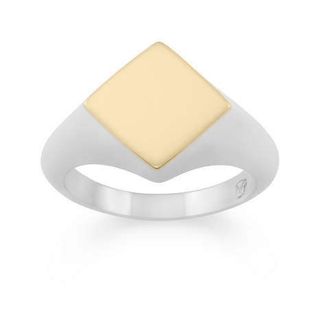 Two-tone Puzzle Ring. 9k Yellow Gold & Sterling Silver