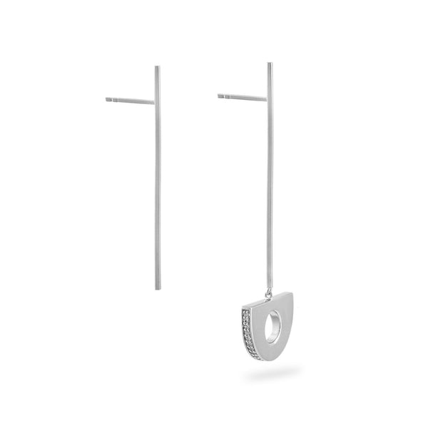 Arc Pendulum Drop Earrings. Sterling Silver - MONARC CONCIERGE