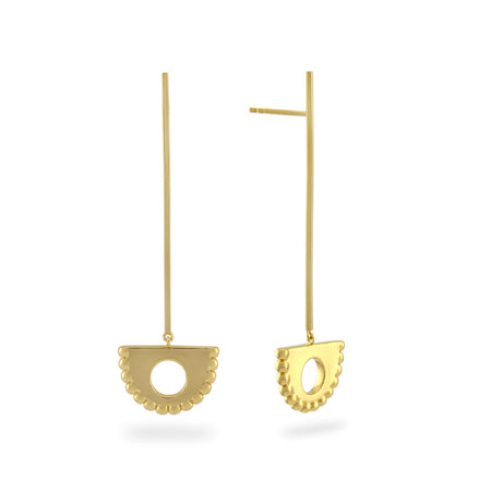 Arc Pendulum Drop Earrings. Gold Vermeil