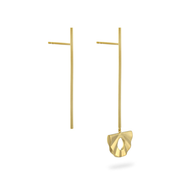 Fan Pendulum Drop Earrings. Gold Vermeil - MONARC CONCIERGE