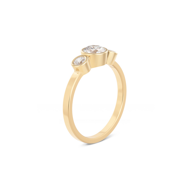 Aurela Diamond Trilogy Ring. 18k Yellow Gold - MONARC CONCIERGE