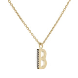 B Medaille d'Amour Alphabet Necklace. 9k Gold & Diamond - MONARC CONCIERGE