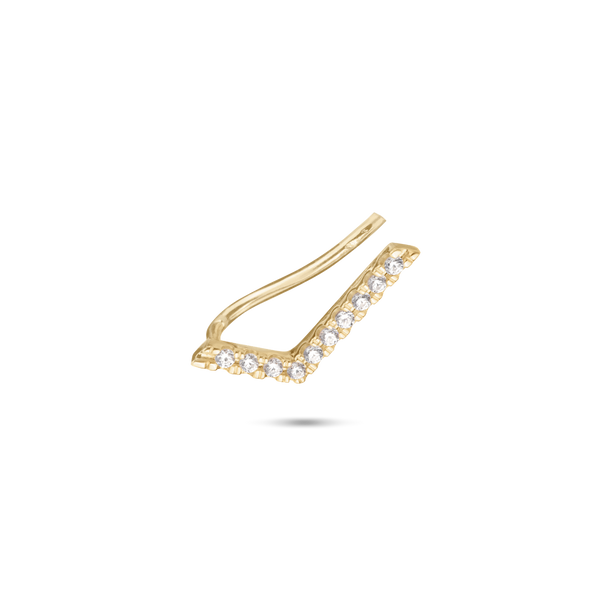 Chevron Diamond Ear Pin. 9k Yellow Gold - MONARC CONCIERGE
