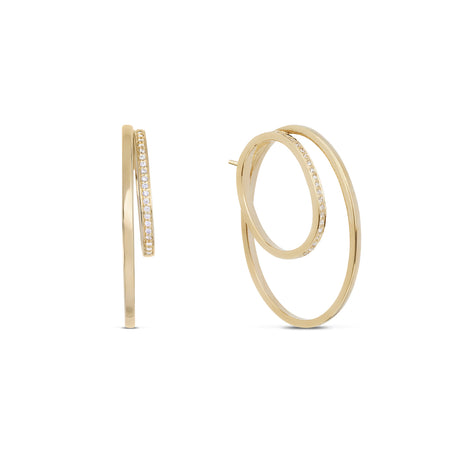 Chevron Diamond Ear Pin. 9k Yellow Gold
