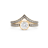 Cleopatra Chevron Diamond Ring Set. 18k Yellow Gold - MONARC CONCIERGE