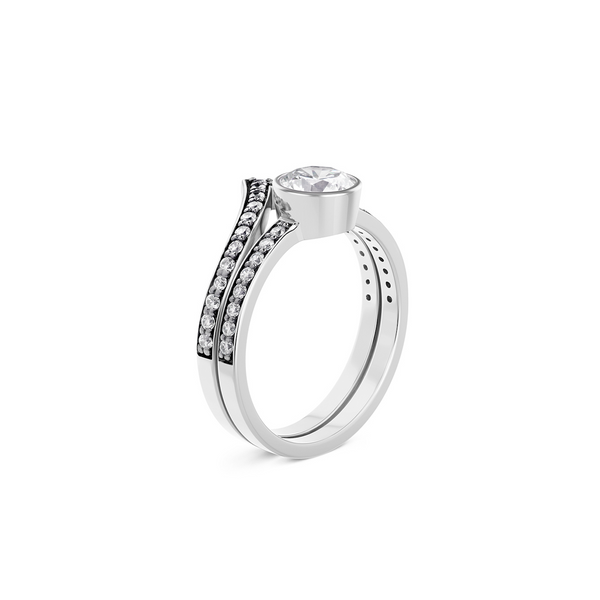 Cleopatra Chevron Diamond Ring Set. 18k White Gold or Platinum. - MONARC CONCIERGE