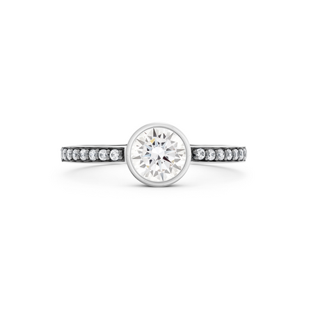 Empress Diamond Solitaire Ring. 18k White Gold or Platinum