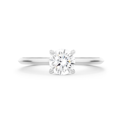 Coeur Diamond Solitaire Ring. 18k White Gold or Platinum - MONARC CONCIERGE