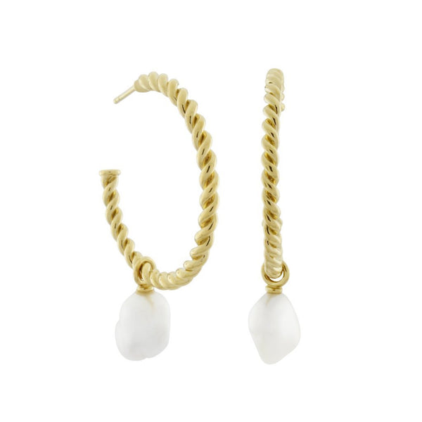Corda Baroque Pearl Hoop Earrings. Gold Vermeil - MONARC CONCIERGE