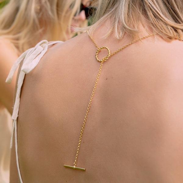 Corda T-Bar Necklace. Gold Vermeil - MONARC CONCIERGE