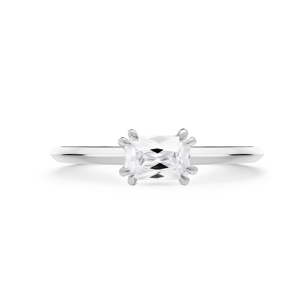Empress Diamond Solitaire Ring. 18k White Gold or Platinum - MONARC CONCIERGE