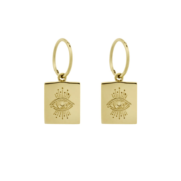 Evil Eye Plinth Hoops. Gold Vermeil - MONARC CONCIERGE