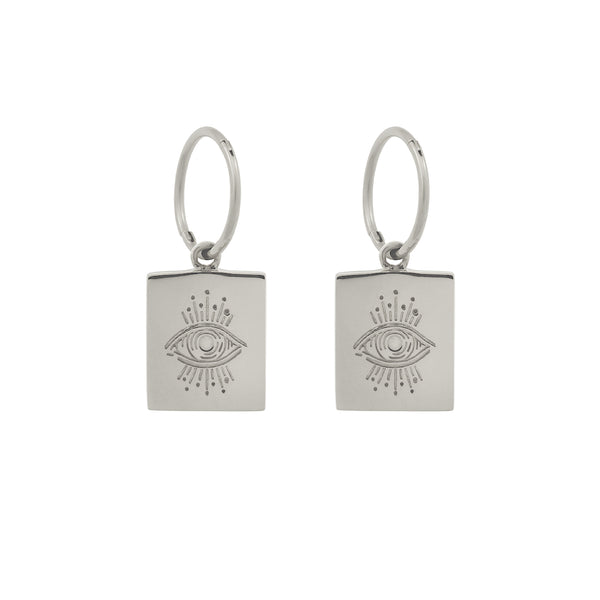 Evil Eye Plinth Hoops. Sterling Silver - MONARC CONCIERGE
