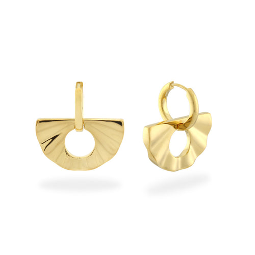 The 2-in-1 Fan Huggie Hoops. Gold Vermeil - MONARC CONCIERGE