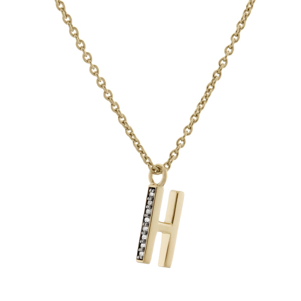 H Medaille d'Amour Alphabet Necklace. 9k Gold & Diamond - MONARC CONCIERGE