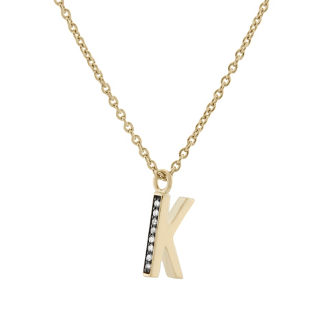 O Medaille d'Amour Alphabet Necklace. 9k Gold & Diamond