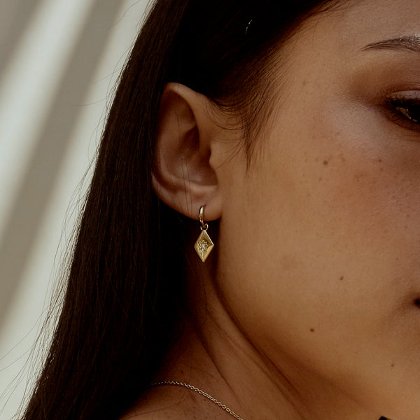 Kite Charm Hoop Earrings. Sterling Silver - MONARC CONCIERGE