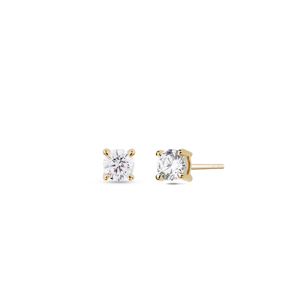 Coeur Solitaire Diamond Earrings. 9k Yellow Gold - MONARC CONCIERGE