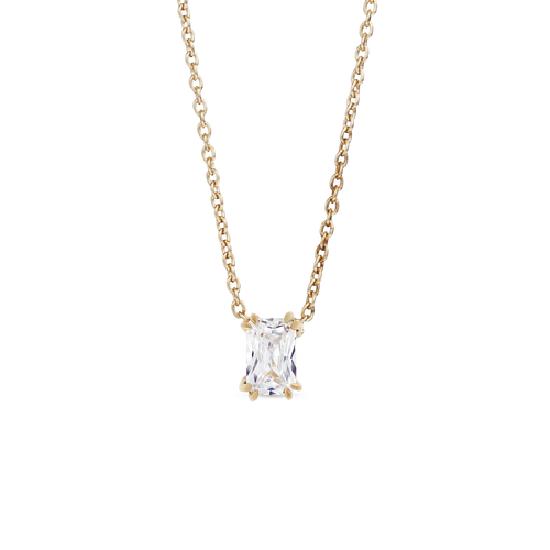 Empress Solitaire Diamond Necklace. 9k Yellow Gold - MONARC CONCIERGE