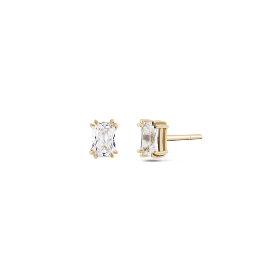 Empress Solitaire Diamond Earrings. 9k Yellow Gold - MONARC CONCIERGE