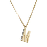 M Medaille d'Amour Alphabet Necklace. 9k Gold & Diamond - MONARC CONCIERGE