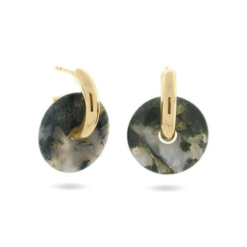 Margarita Hoop Earrings, Gold Vermeil & Repurposed Agate - MONARC CONCIERGE