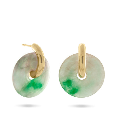 Margarita Hoop Earrings, Sterling Silver & Repurposed Jade. PRE-ORDER