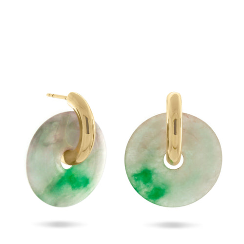 Margarita Hoop Earrings, Gold Vermeil & Repurposed Jade