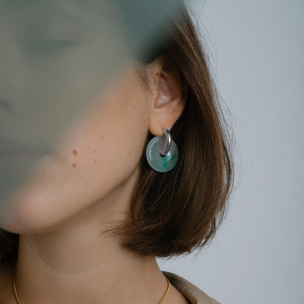 Margarita Hoop Earrings, Sterling Silver & Repurposed Jade. PRE-ORDER - MONARC CONCIERGE