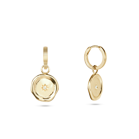 Kite Charm Hoop Earrings. Gold Vermeil