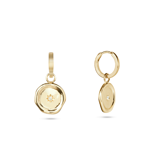 Molten Charm Hoop Earrings. Gold Vermeil