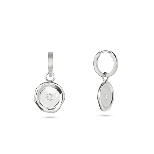 Molten Charm Hoop Earrings. Sterling Silver