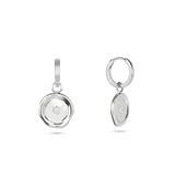 Molten Charm Hoop Earrings. Sterling Silver - MONARC CONCIERGE