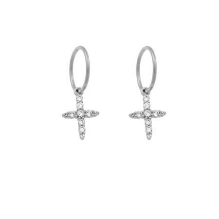 Endless Georgie Cross Hoops. Sterling Silver