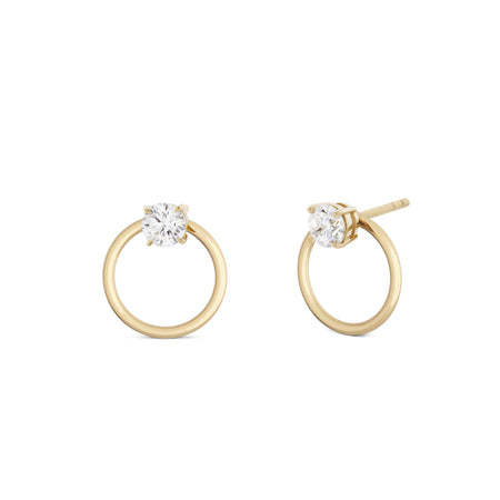 Embrasé Diamond & Pearl Hoop Earrings. 9k Yellow Gold