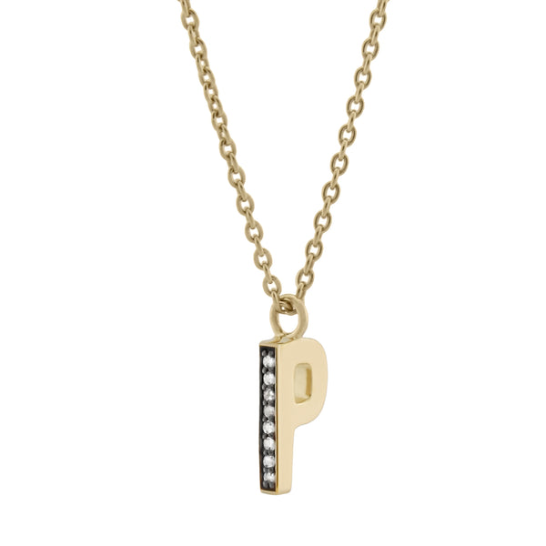 P Medaille d'Amour Alphabet Necklace. 9k Gold & Diamond - MONARC CONCIERGE