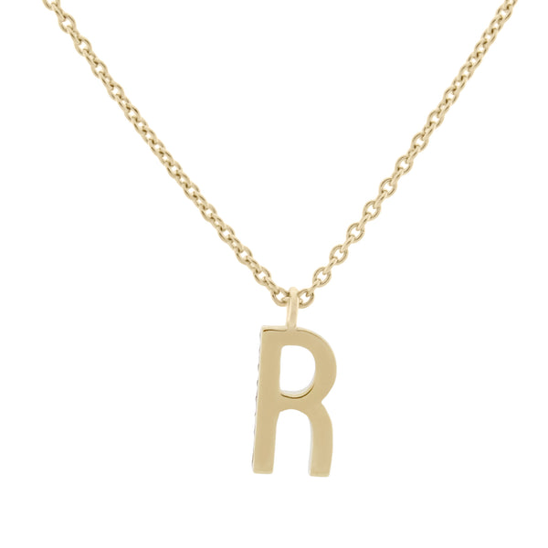 R Medaille d'Amour Alphabet Necklace. 9k Gold & Diamond - MONARC CONCIERGE