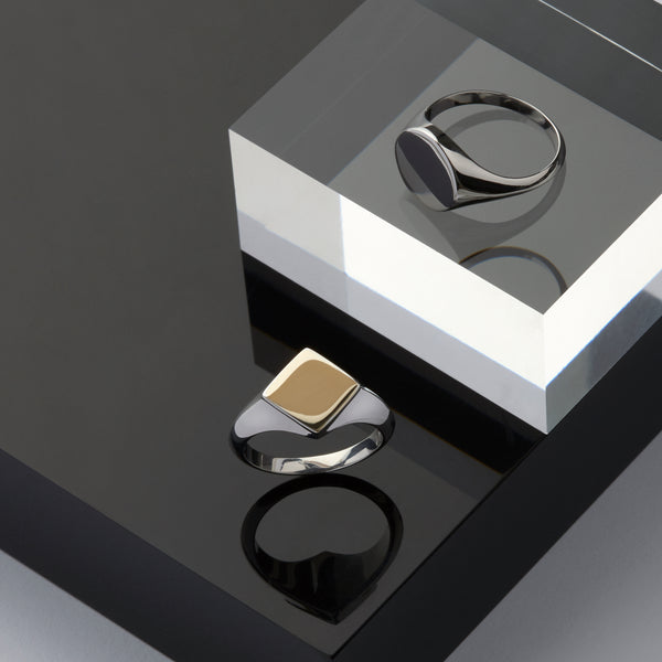 Rhembo Signet Ring. 9ct Yellow Gold & Sterling Silver - MONARC CONCIERGE