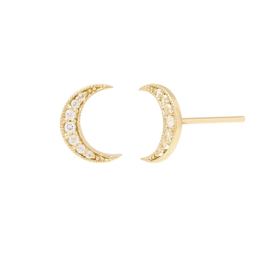 Selene Stud Earrings. 9k Yellow Gold & White Topaz - MONARC CONCIERGE