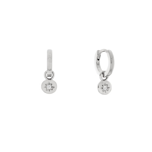 Starlet Charm Hoop Earrings. Sterling Silver - MONARC CONCIERGE
