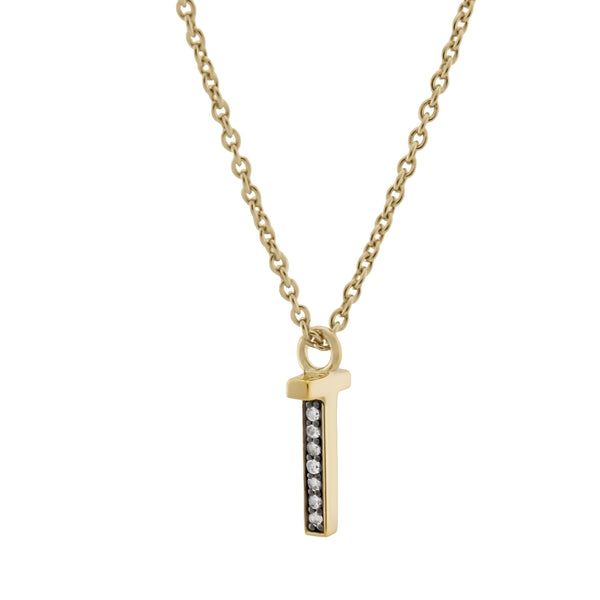 T Medaille d'Amour Alphabet Necklace. 9k Gold & Diamond - MONARC CONCIERGE