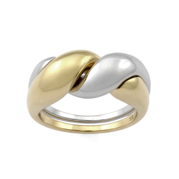 Two-tone Puzzle Ring. 9k Yellow Gold & Sterling Silver - MONARC CONCIERGE